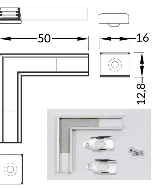 connettore a L per profilo alluminio slim
