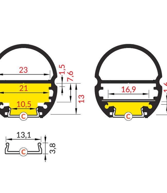profilo per led oval