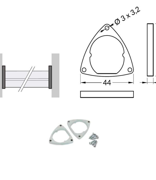 supporto in acciaio per profilo alluminio oval
