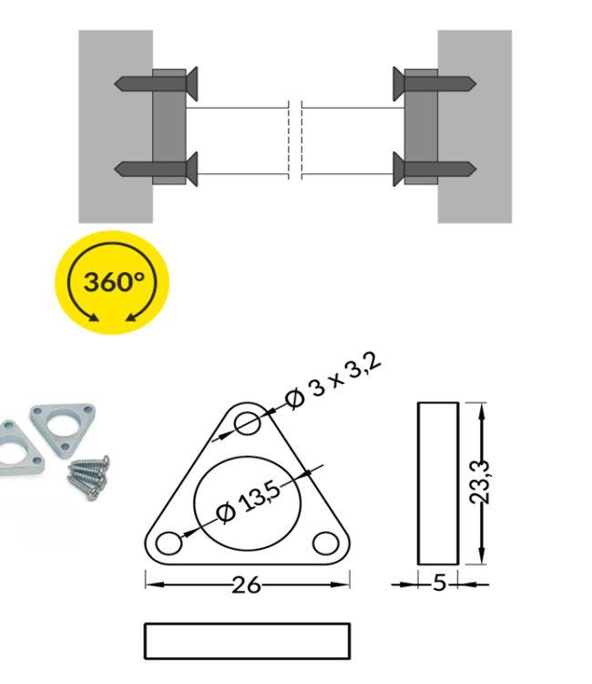 accessori per profilo pen in acciaio