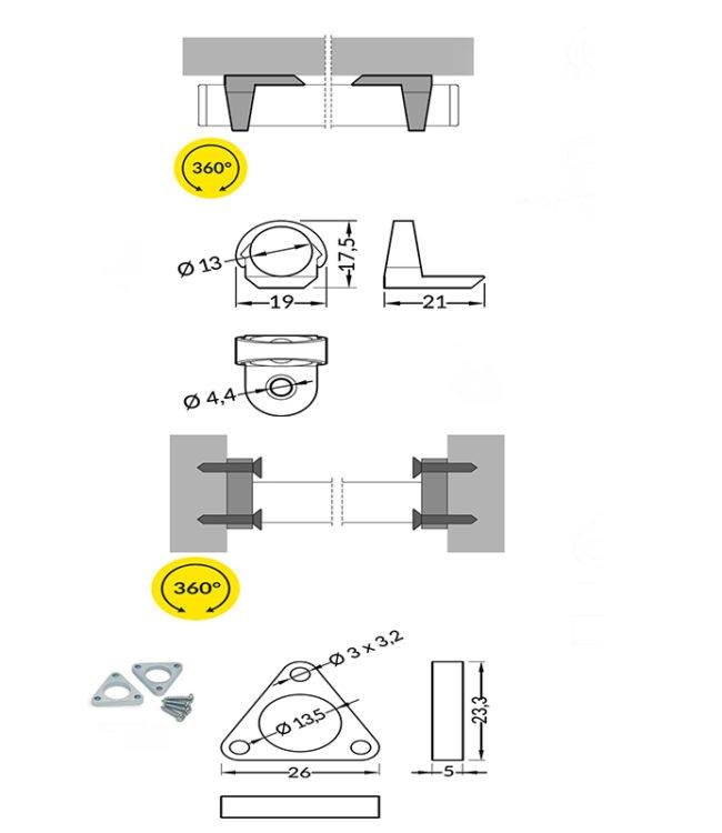 accessori per profilo alluminio pen per led
