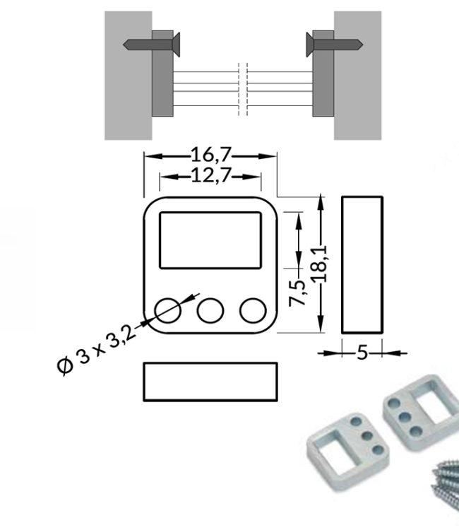 supporto in acciaio per profilo alluminio slim