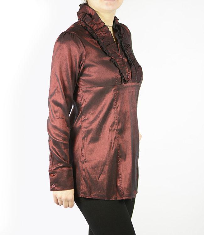 camicia marrone donna a tunica lato