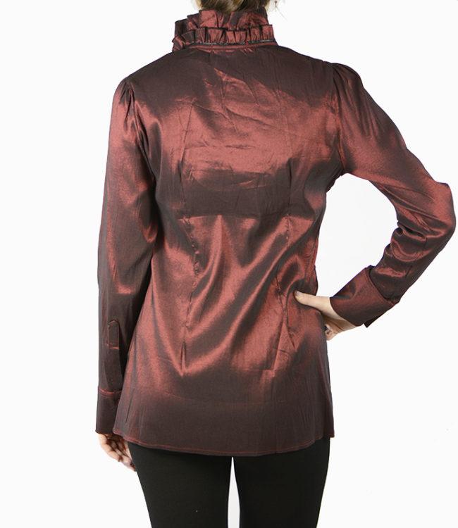 camicia marrone donna a tunica dietro