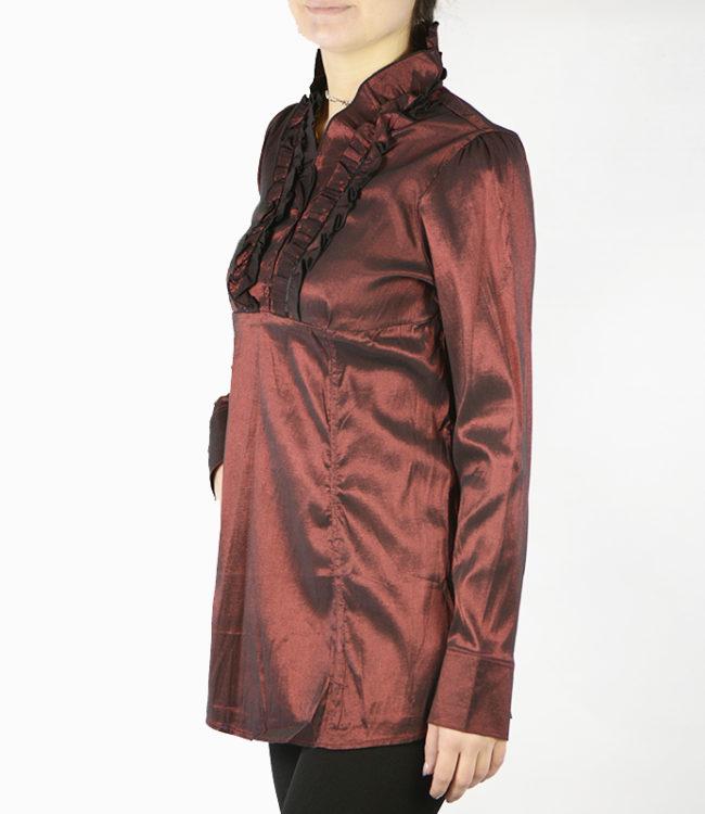 camicia marrone donna a tunica lato 1