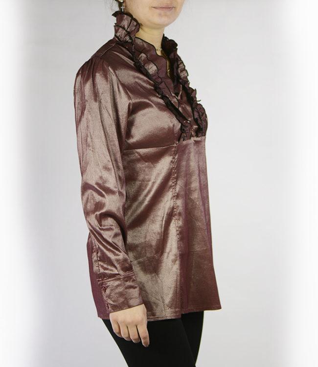 camicia marrone chiaro donna a tunica lato