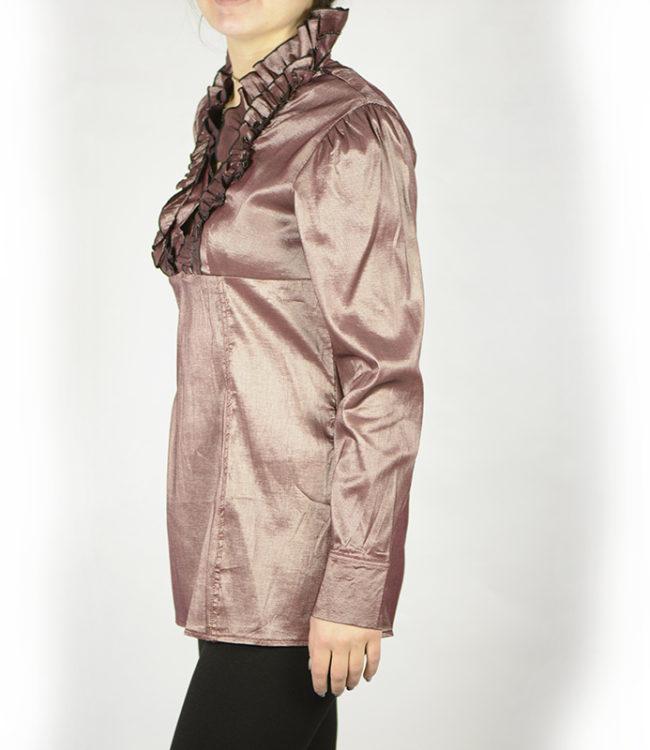 camicia marrone chiaro donna a tunica lato 1