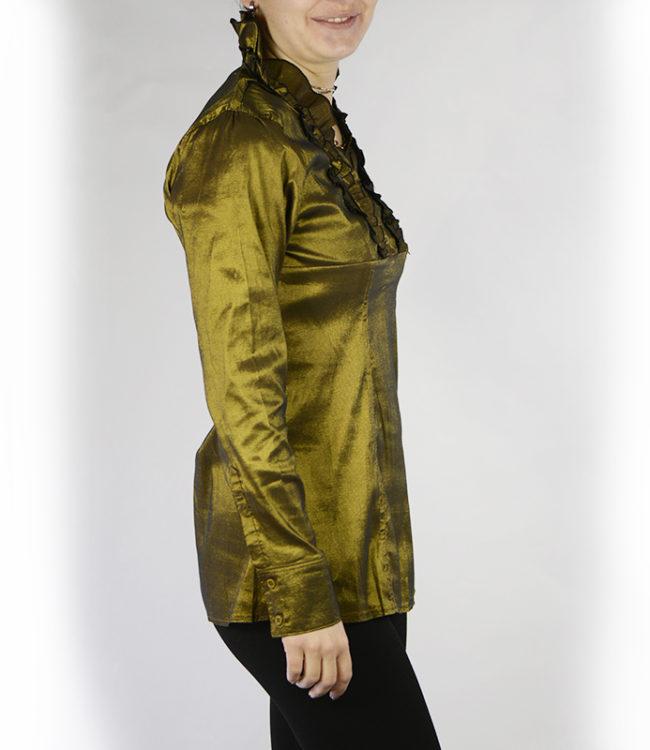 camicia donna a tunica verde lato