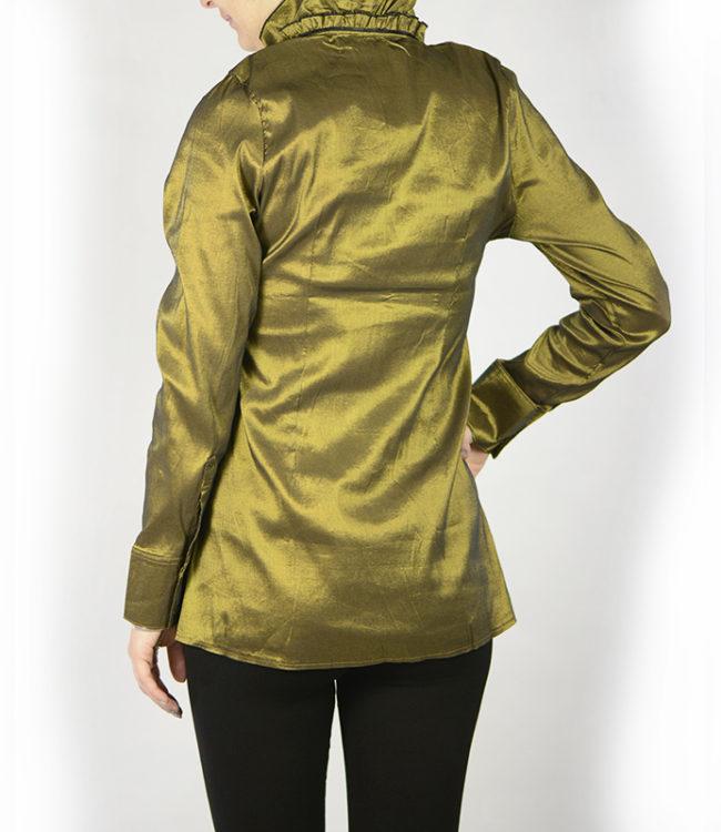 camicia donna a tunica verde dietro