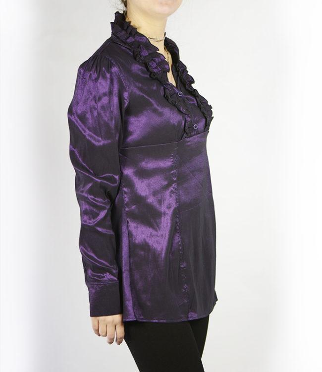 camicia donna a tunica viola lato