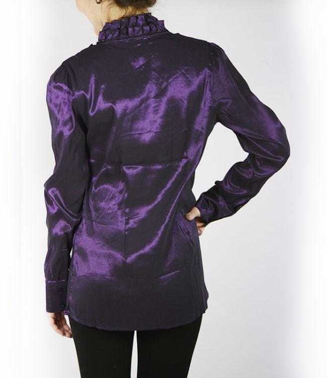 camicia donna a tunica viola dietro