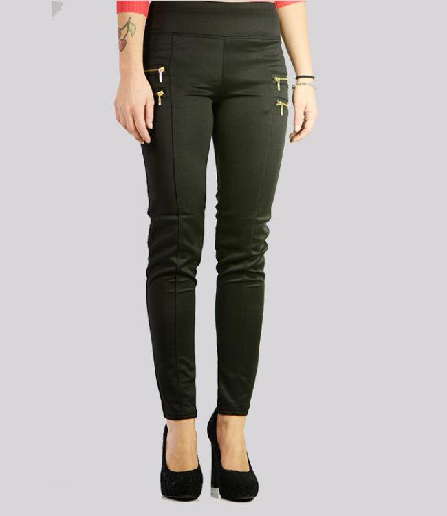 pantaloni eleganti neri con cerniere