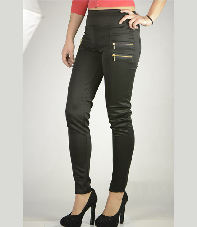 pantaloni eleganti neri con cerniere lato