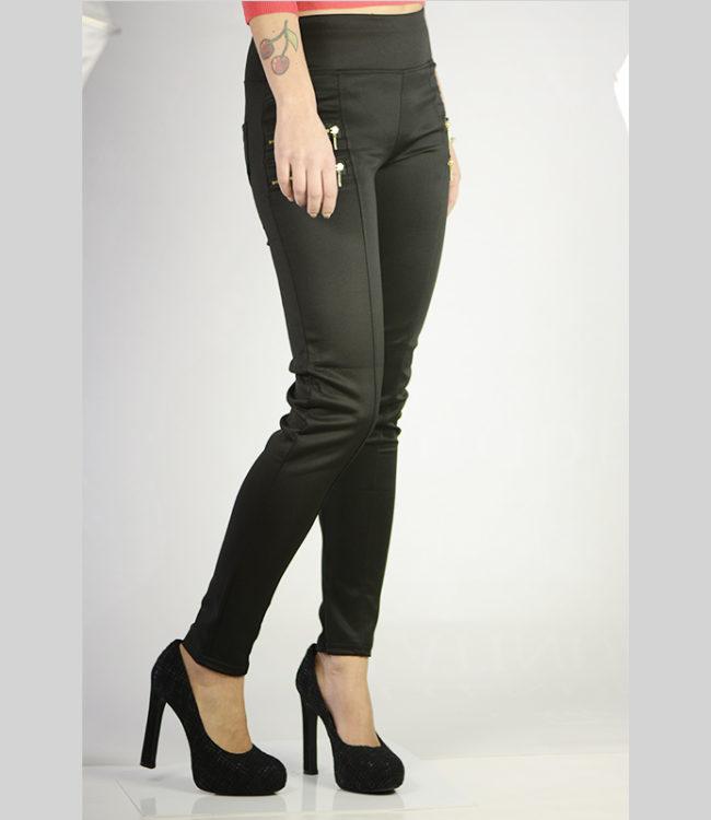 pantaloni eleganti neri con cerniere lato 1
