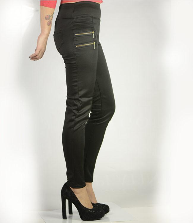 pantaloni eleganti neri con cerniere lato 2