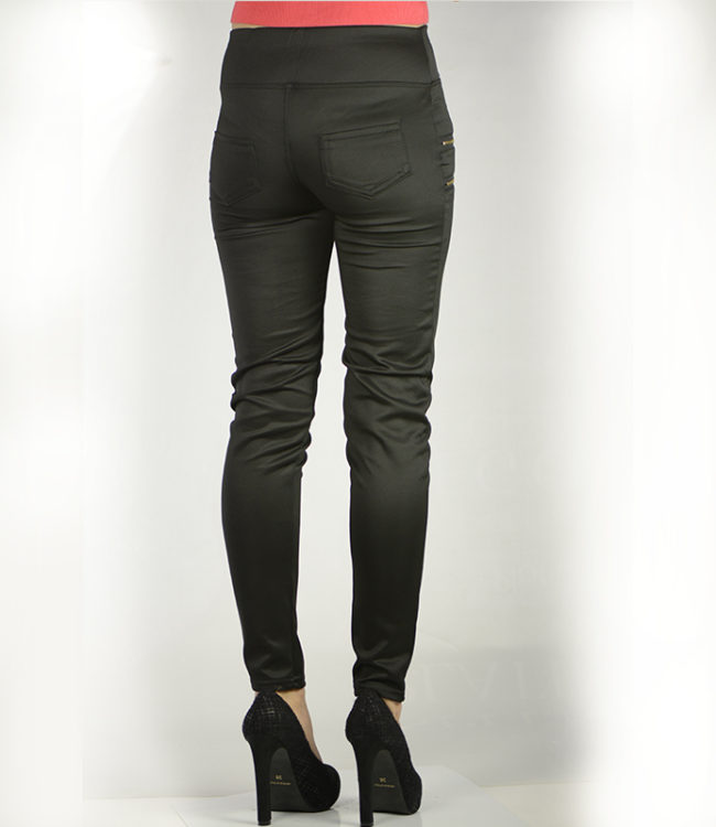 pantaloni eleganti neri con cerniere dietro
