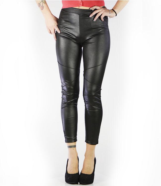 pantaloni leggins semilpelle nero