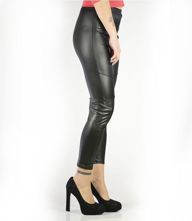pantaloni leggins semilpelle nero lato