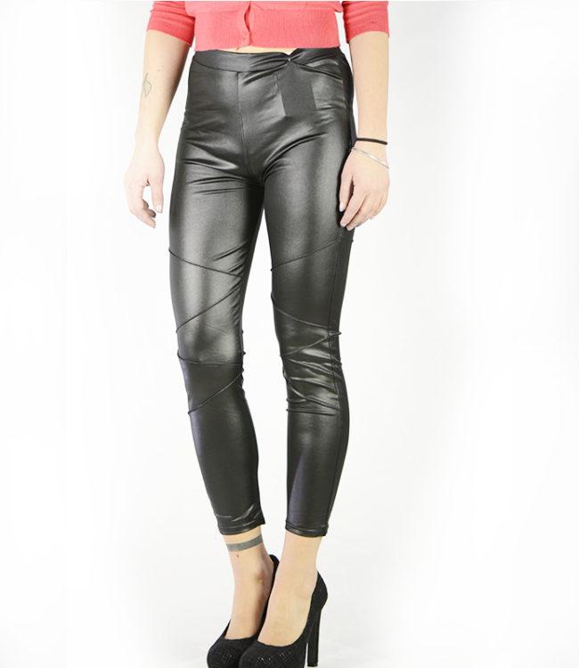 pantaloni leggins semilpelle nero lato 1